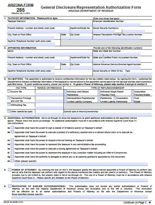 Tax Form 285