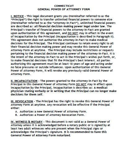 Connecticut General POA Form