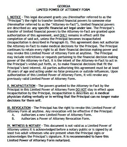 Georgia Limited Power of Attorney Form