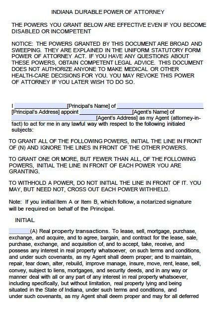 Indiana Financial Power of Attorney Form