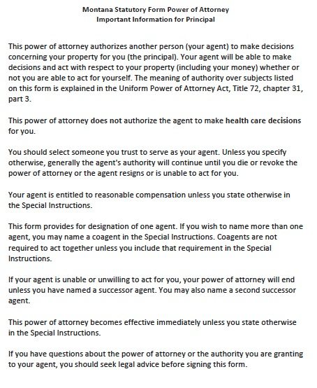Montana Statutory Durable Power of Attorney Form