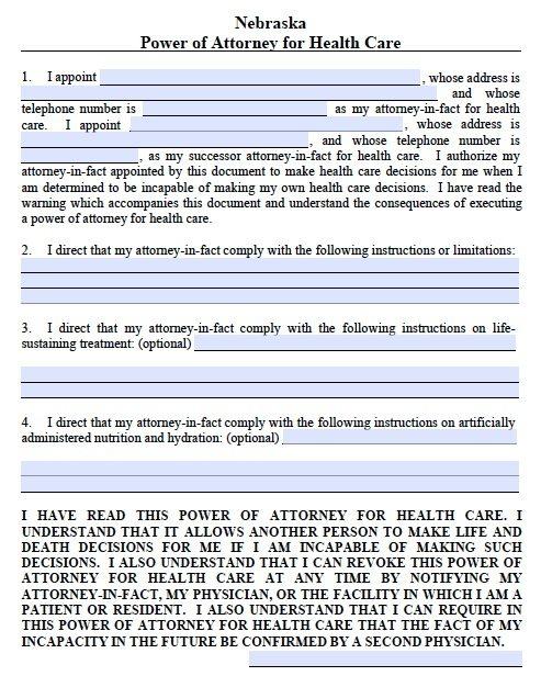 Nebraska Medical Power of Attorney