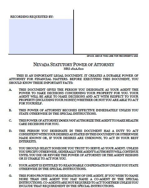 Nevada Durable Financial POA Form