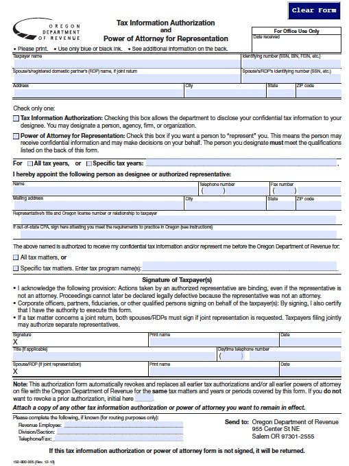 Oregon Dept of Revenue Tax Power of Attorney