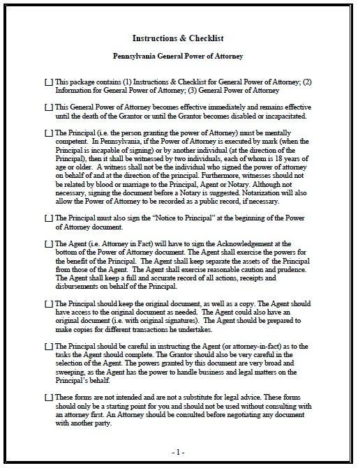Pennsylvania General Power of Attorney Form