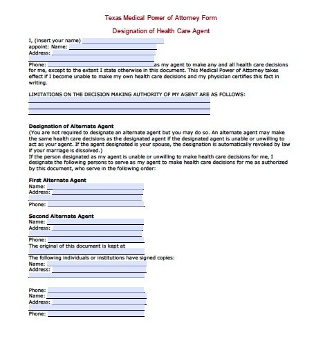 Texas Medical Power of Attorney