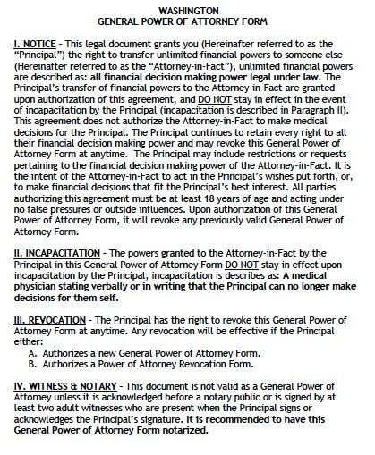 Washington General Power of Attorney