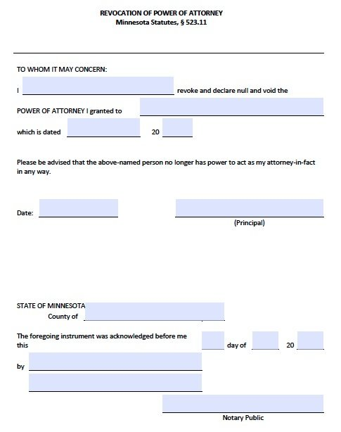 Minnesota Power of Attorney Revocation Form