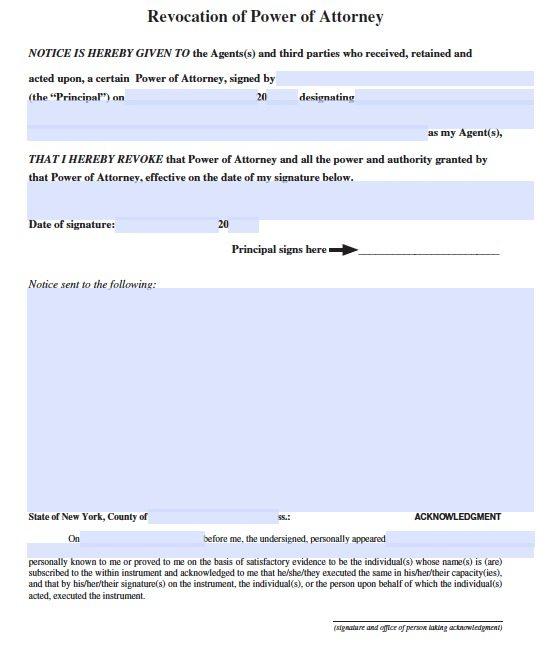New York Revocation POA Form